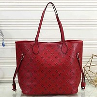 LV Louis Vuitton Women Leather Zipper Shopping Shoulder Bag Handbag