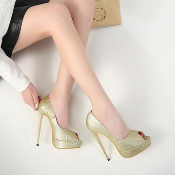 2018 New Trends Shinning Peep Toe Super High Stiletto Heel Sandals