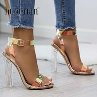 Summer PVC Clear Transparent Strappy High Heels Shoes Women Sandals Peep Toe Sexy Party  Ladies Shoes Woman sandals