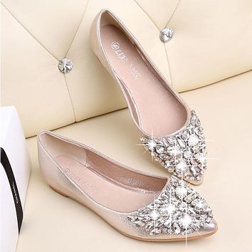 Fashion women Ballet shoes leisure spring pointy ballerina bling Rhinestone flats shoes  princess shiny Crystal wedding shoes