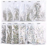 Women Super Glitter  Flat Back Hot Fix Crystal Rhinestone In Assorted Sizes