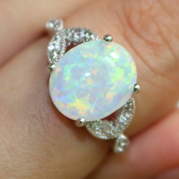 Size 4 to 12 925 Sterling Silver Oval Cut Australia Fire Opal Ring Wedding Engagement Promise Statement Anniversary Mother's Day