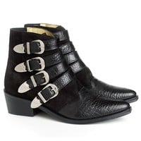 Embossed Black Suede Buckled Boots | Toga Pulla | Avenue32