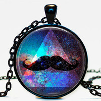 Galaxy Mustache Triangle Pendant,Nebula Cassiopeia Nebula Necklace Galaxy necklace Space universe pendant Necklace for him Art Gifts for Her
