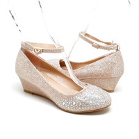 Champagne Color Wedge with Rhinestones