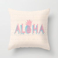 Vintage Aloha  Throw Pillow by Sunkissed Laughter