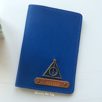 Harry Potter Personalized passport cover, Potter,  Passport holder, Leather passport cover, Leather passport holder, Deathly Hallows.