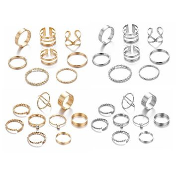Minimalist Gold Sliver Rings Set For Women 2019 Punk Geometric Crystal Round Twist Knuckle Ring Female Fashion Finger Jewelry