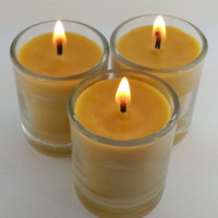 ORGANIC  Beeswax 24 Votive Candles in Glass Holder Burn 15 + Hours Handmade Bees Wax Natural    ****Best Price*****