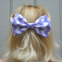 Lilac and white chevron bow hair clip - bow barrette - big bow - kawaii - feminine