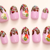 Chocolate drip nails, sprinkle, fake sweets, Harajuku, Japanese 3D nails, cute nail, pink, fruit, miniature food, false nails, oval nails,