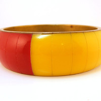 Chunky Bracelet Multi Colored Lucite Bangle Brass Core Red Yellow Pink