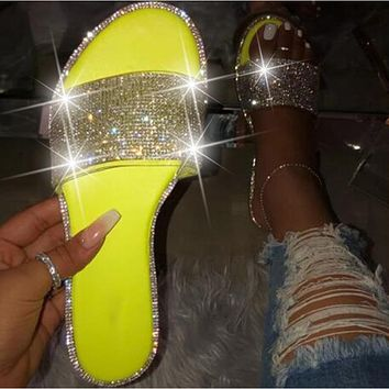 Glitter Slippers Women Summer Sandals 2021 Fashion Bling Female Candy Color Flip Flops Beach Diamond Flat Shoes Outdoor Sandals