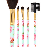 Rose Print Makeup Brush Set