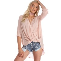 Pink Sweet Serenade Lace Up Blouse