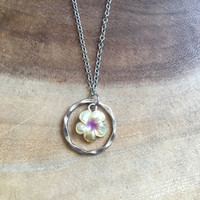 Plumeria Necklace, Charm Necklace, 16 Inch Necklace, Flower Necklace, Dainty Necklace, Nature Necklace, Free US Shipping
