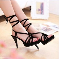 Lace Up High Heel Sandals for Women AT481
