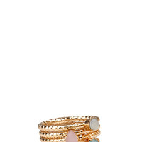 FOREVER 21 Geo Faux Stone Ring Set Pink/Mint