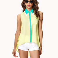 Colorblocked Double Collar Shirt