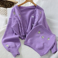 Women Fashion Embroidery Sweater Autumn Winter Ladies Knit Loose Casual Joker Crop Top Korean Matching Chest