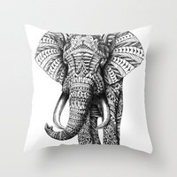 Ornate Elephant Throw Pillow by BioWorkZ | Society6