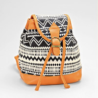 Boho Aztec Baby Backpack, Tribal Chic Buckle Leather Trim Bag - Black/White