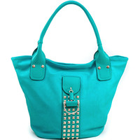 Women's Fashion Tote w/ Rounded Pyramid Studs & Tassel Accent - Turquoise Color: Turquoise