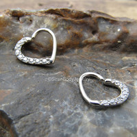Daith heart earring piercing cartilage ring 16g clear gemstone rook hearts silver cartilage helix piercings rings left right body jewelry