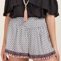 Shelia Printed Embroidered Hem Soft Shorts