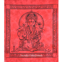 Red Hindu God Ganesha Tapestry Wall Hanging on RoyalFurnish.com