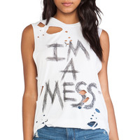 Lauren Moshi Roxanne I'm a Mess Vintage Muscle Tee in White