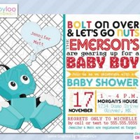 Robot Baby Shower Invitations for Baby Boy Baby Shower 318 by LullabyLoo on Zibbet