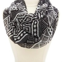 Geometric Print Infinity Scarf by Charlotte Russe - Black Combo