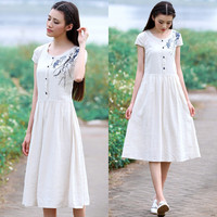 White Floral Print Short Sleeve Pleated Buttoned Midi Dress