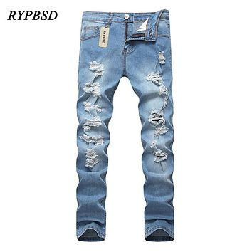 Light Blue Men Jeans Hip Hop Hole Ripped Jeans for Men Skinny Distressed Stretch Slim Fashion Straight Pencil Denim Trousers