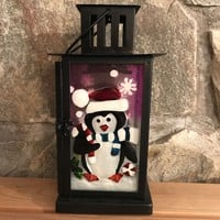 Penguin Glass/Metal Holiday Candle Lantern