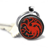 House of Targaryen Keychain Handcrafted Game of Thrones Key Ring