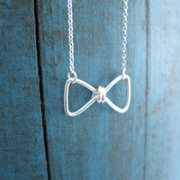 Sterling Silver Bow Necklace Bow Tie bridesmaid jewelry Girlfriend gift Tie the Knot gift