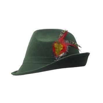 """""""German Hunter"""" Green Hat Fedora With Edelweiss & Feather"""