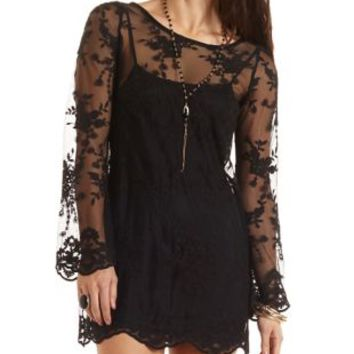 Embroidered Mesh Shift Dress by Charlotte Russe - Black