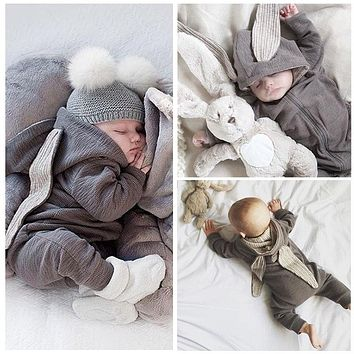 CUTE AS A BUNNY! 3D Bunny Ear Romper Jumpsuit - Newborn Infant Baby Clothes