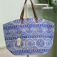 Mosaic Print Tote Bag {Blue}