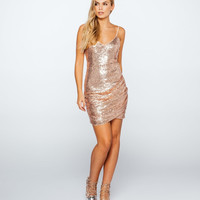 Ruched Side Sequin Cami Dress