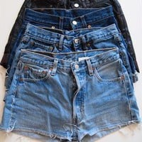 Vintage LEVIS Dark Blue Studded High Waisted Shorts from Boutique 73