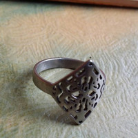 "Stainless Steel Ring, Cut Out Ring, Size 8 Ring, Diamond Ring, Silver Ring ""2015 SALE"""