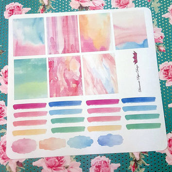 27 kiss cut and ready to peel off Watercolor Theme Stickers! Perfect for your Erin Condren Life Planner, Filofax, Kikkik, Plum Paper