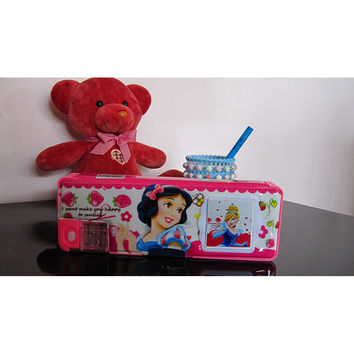 Cute cartoon student supplies Multifunction Two-sided pencil boxes pencil case with electric calculator small size   princess