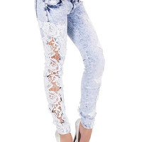 Wash Blue Low-Waisted Lace Design Cut Out Jeans