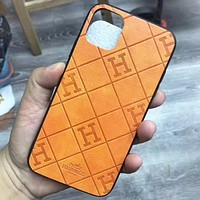 Hermes New fashion more letter leather couple mobile phone case protective case Orange