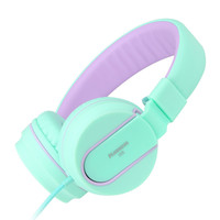 Ailihen I35 Headphones with Microphone Stereo Lightweight Adjustable Foldable Headset for Cellphones Smartphones iPhone iPod Laptop Computer Mp3/4 (Green Purple) Light Blue '